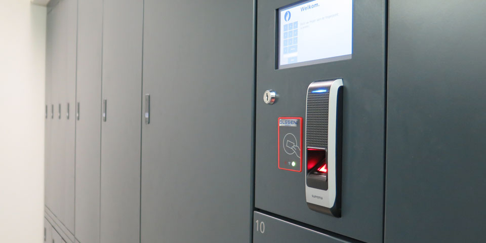 police lockers with fingerprint